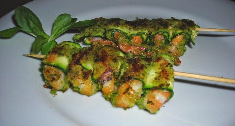 spiedino gamberi e zucchine