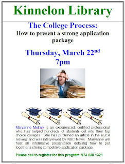 Strong College Applications: Kinnelon Library 3/22/12
