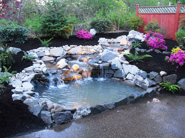 best concept of how to build a backyard pond good water fall decor lush natural stone line