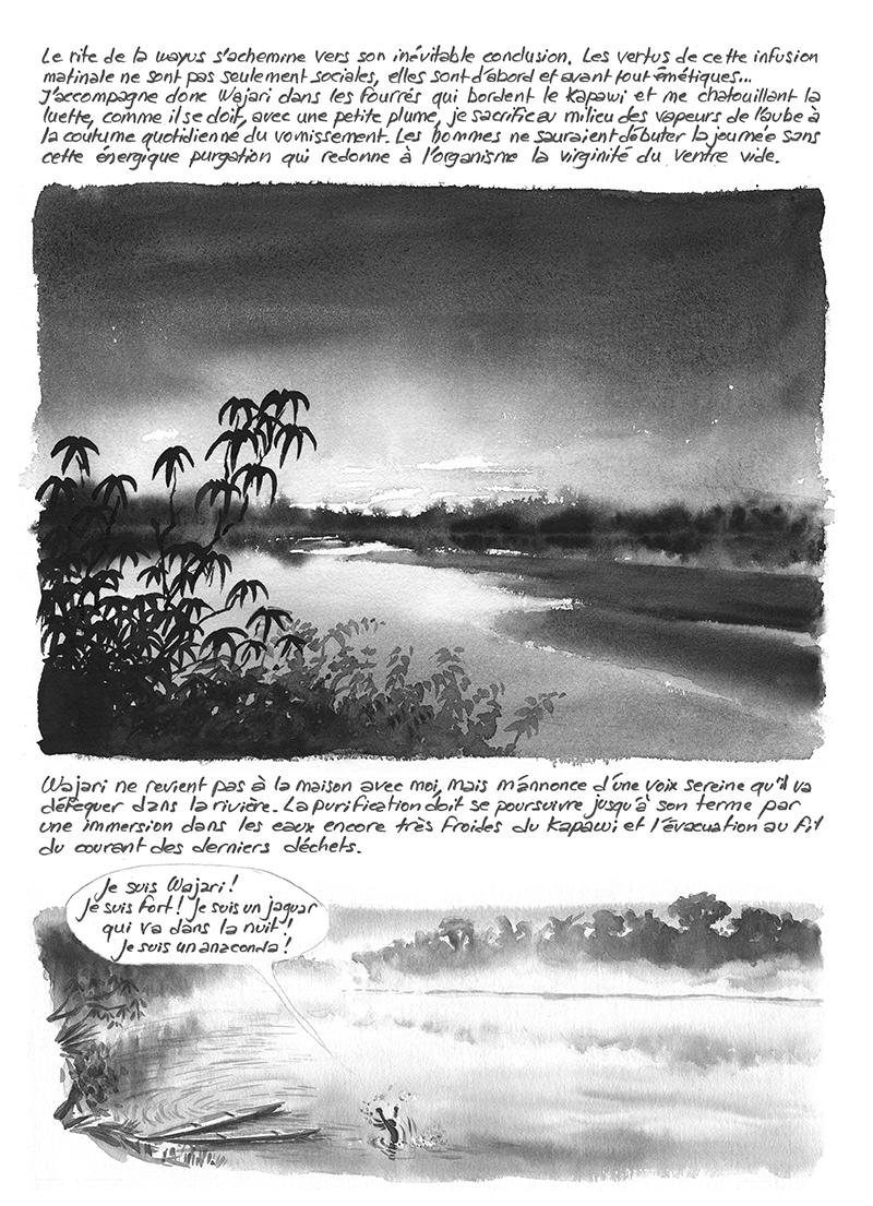 Wayusa Descola Wajari baignade dans le Kapawi