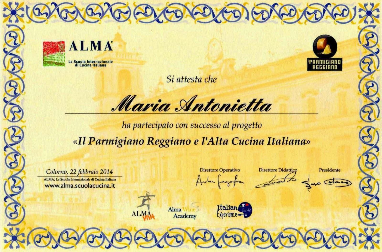 Il diploma consegnato dai rappresentanti del Consorzio del Parmigiano Reggiano