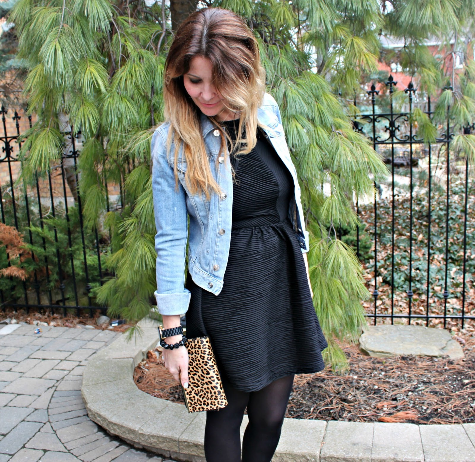 Black dress jean jacket - Another Picture Of Denim Jacket With Black Dress