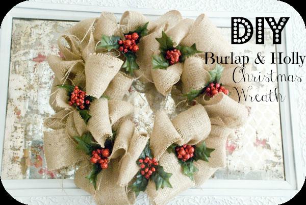DIY Christmas Burlap Bubble Wreath with DIY Holly