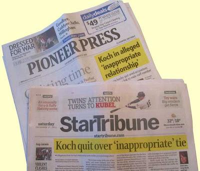 Pioneer Press headline Koch in alleged 'inappropriate relationship', Star Tribune headline Koch quit over 'inappropriate' tie