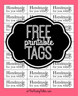 FREE PDF printable craft tags or labels saying handmade with love by the funky felter
