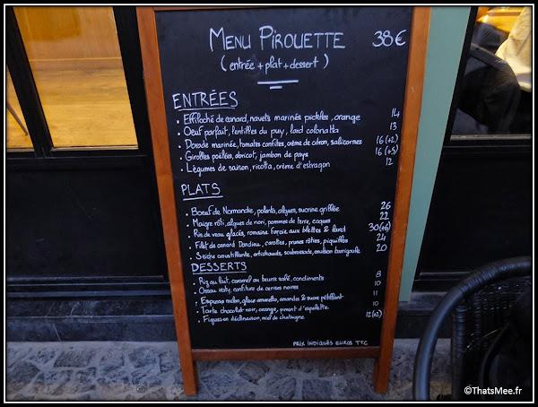 Resto Pirouette menu carte 5 rue Mondétour Paris menu