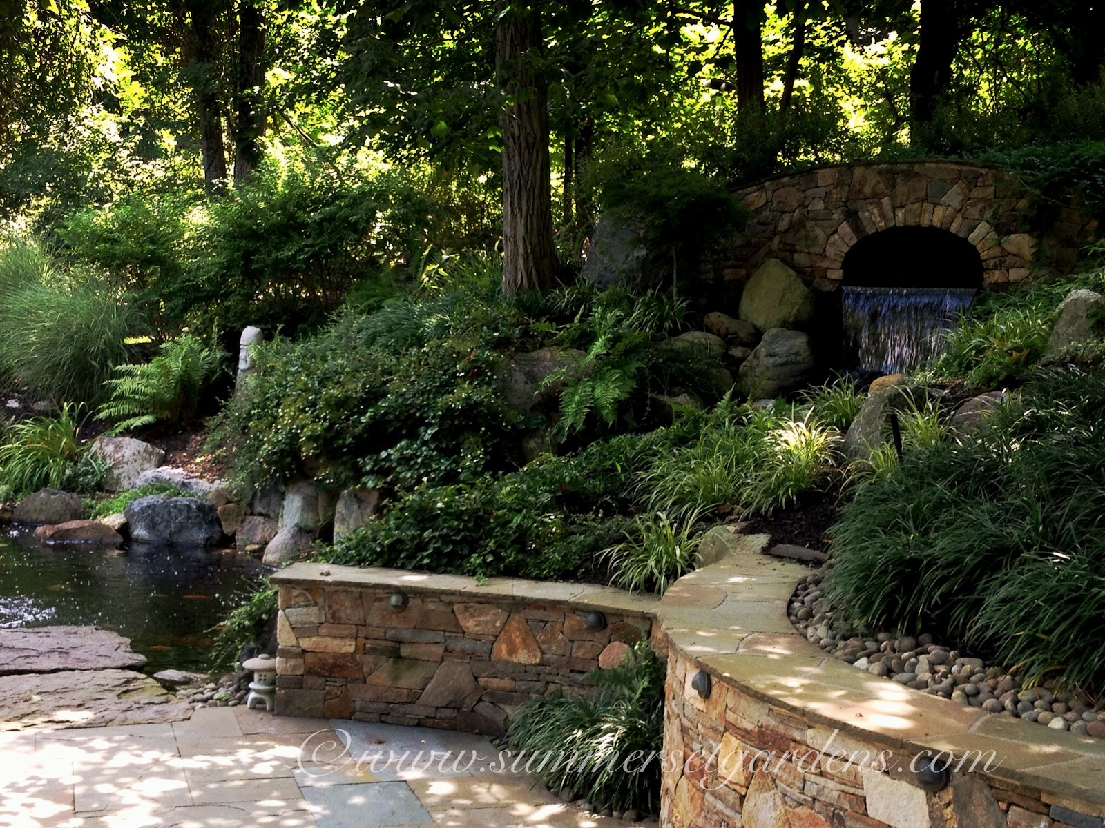 Garden design pond waterfall patio in rockland county ny for Patio koi pond