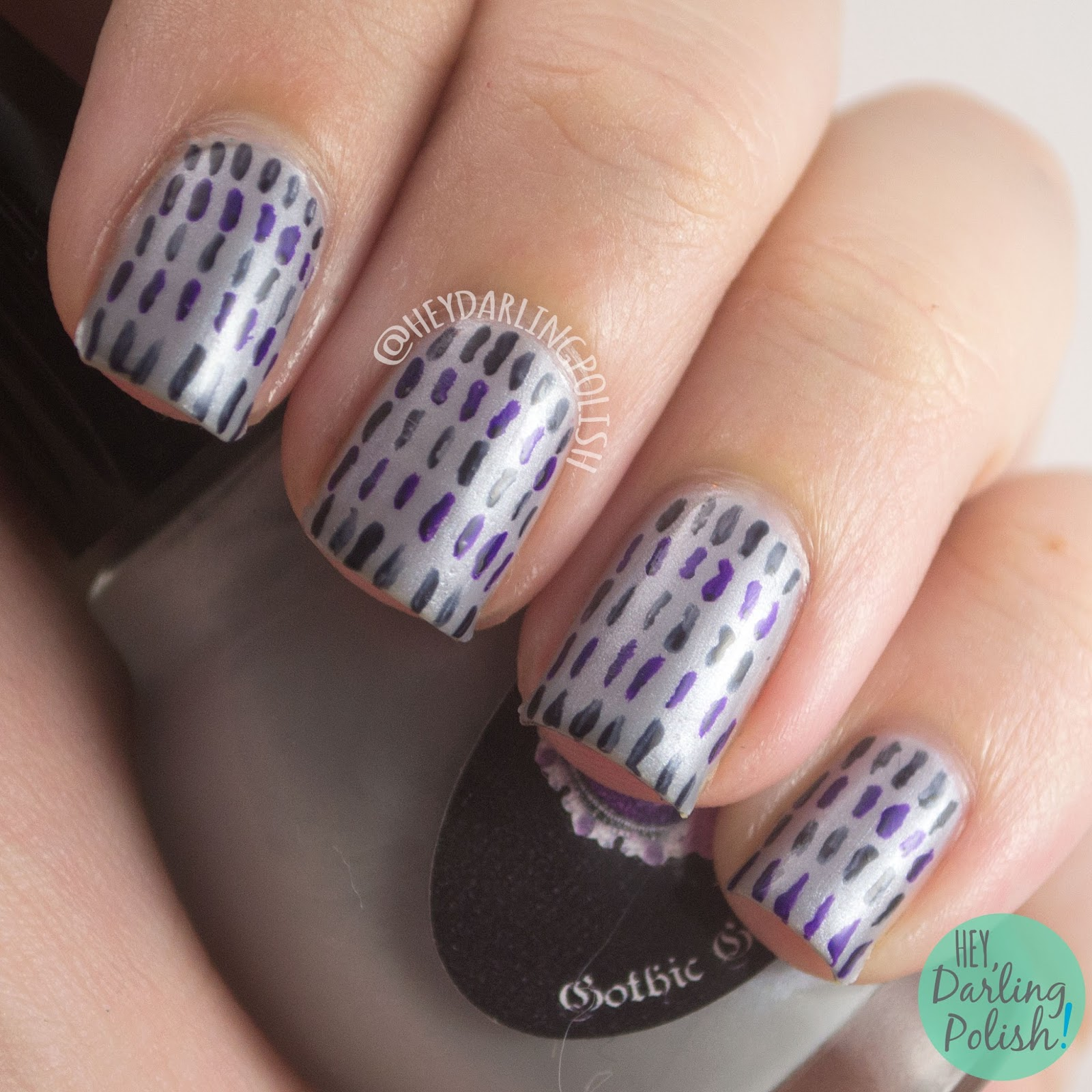 nails, nail art, nail polish, stripes, hey darling polish, the nail challenge collaborative, gothic gala lacquers, silver,