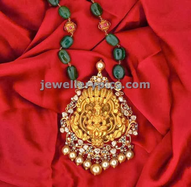 emeral beads chain and nagas pendent