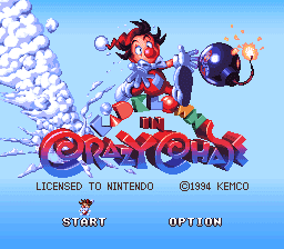 Kid Klown in Crazy Chase title screen
