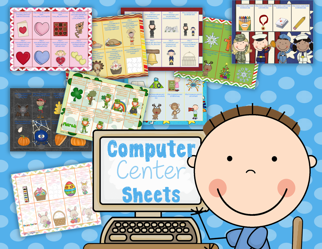 http://www.teacherspayteachers.com/Product/Computer-Center-Sheets-Holidays-1066694