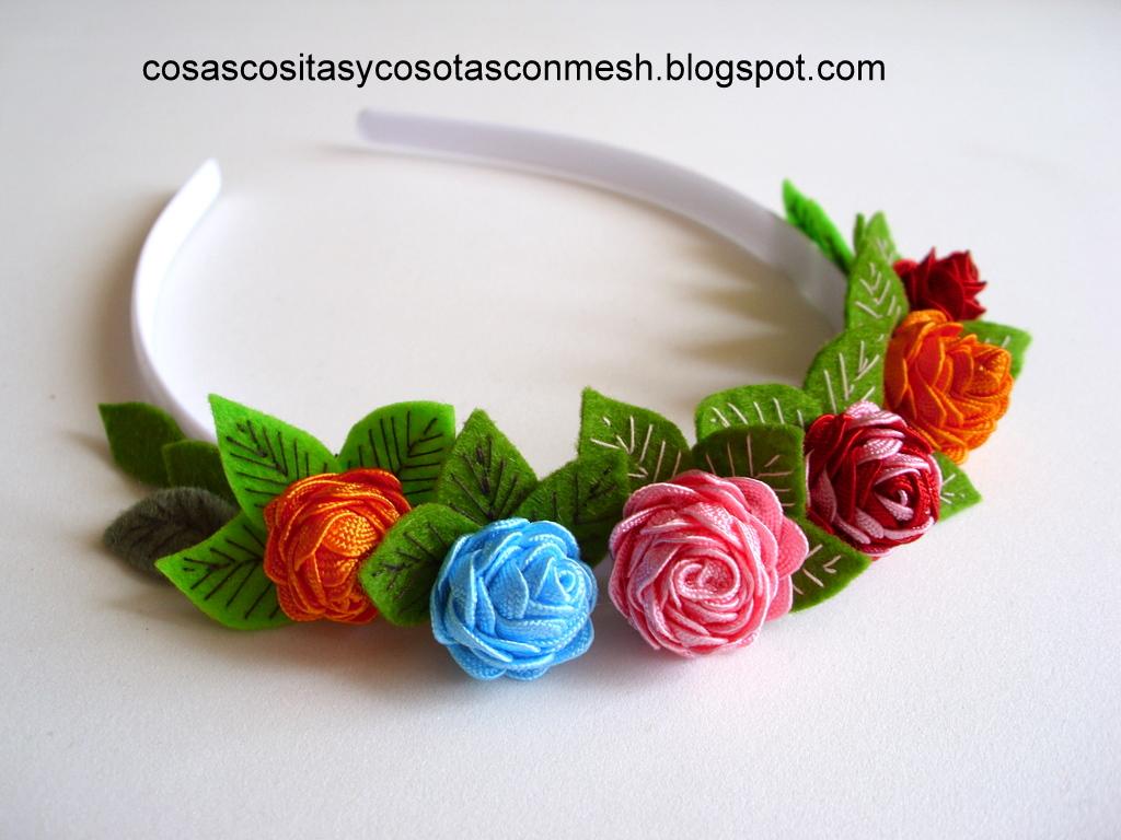 Manualidades diademas decoradas con rosas cositasconmesh - Material para hacer diademas ...