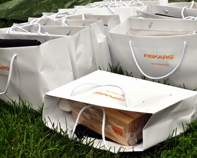 Gift bags from Fiskars, filled with Fiskars knives, including my new favorite tomato knife.