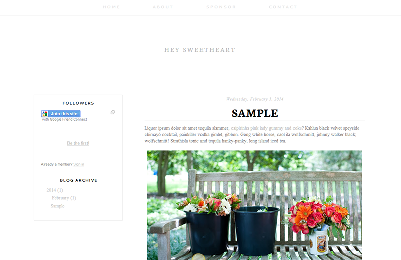 Blogger Design Template Sample: Hey Sweetheart ($35)