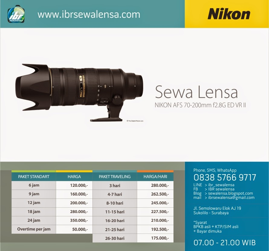Harga Sewa lensa kamera DSLR Nikon 70-200mm f2,8G ED VR II