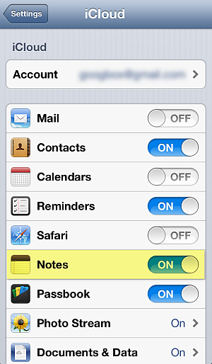 enable icloud notes sync on iphone