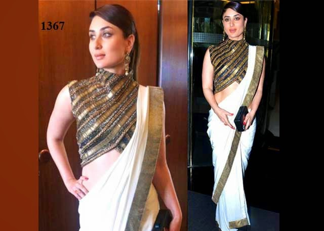 1367 -  Kareena Kapoor In Beautiful White Designer Plain Saree with Gold Border