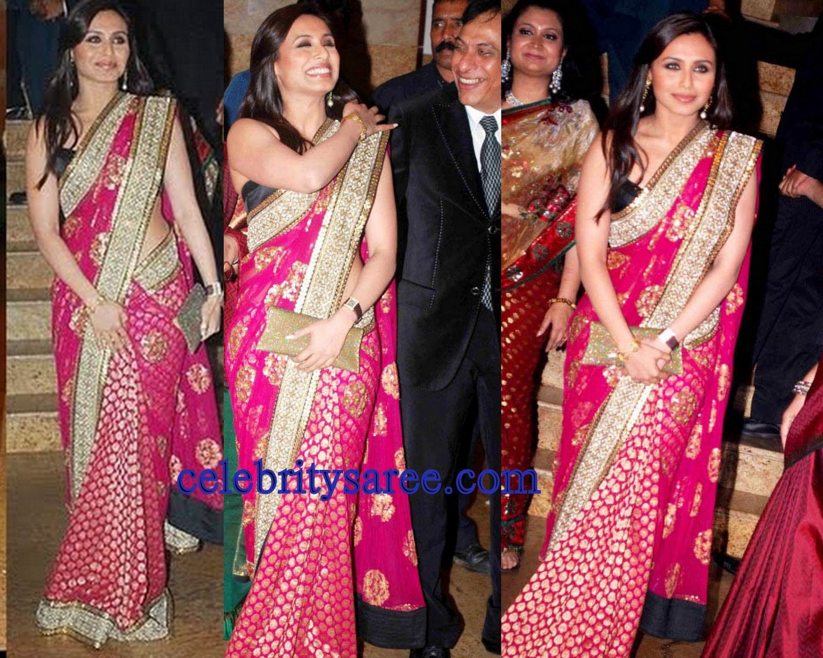 Check Out Bollywood Actress Rani Mukherjee In Beautiful Pink Polka Dots And Banarasi Lehenga Style Saree Embellished With Sequins Work Embroidery S