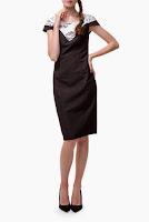 Rochie negru cu alb din stofa R416 (Ama Fashion)