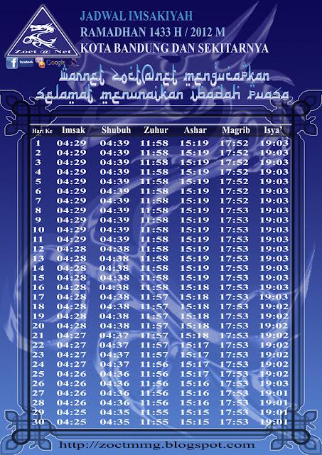 Download Jadwal Puasa Imsakiyah 1433 H/2012 M