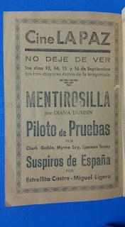 Cine la Paz de Binéfar. Programa 1940