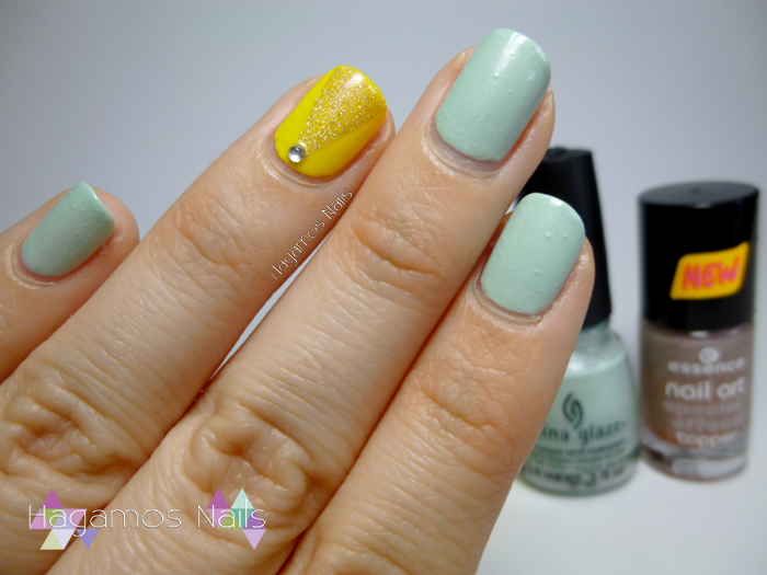 Nail Art verde y amarillo. Campanilla Reto Fairy's Tale Nails. Hagamos Nails