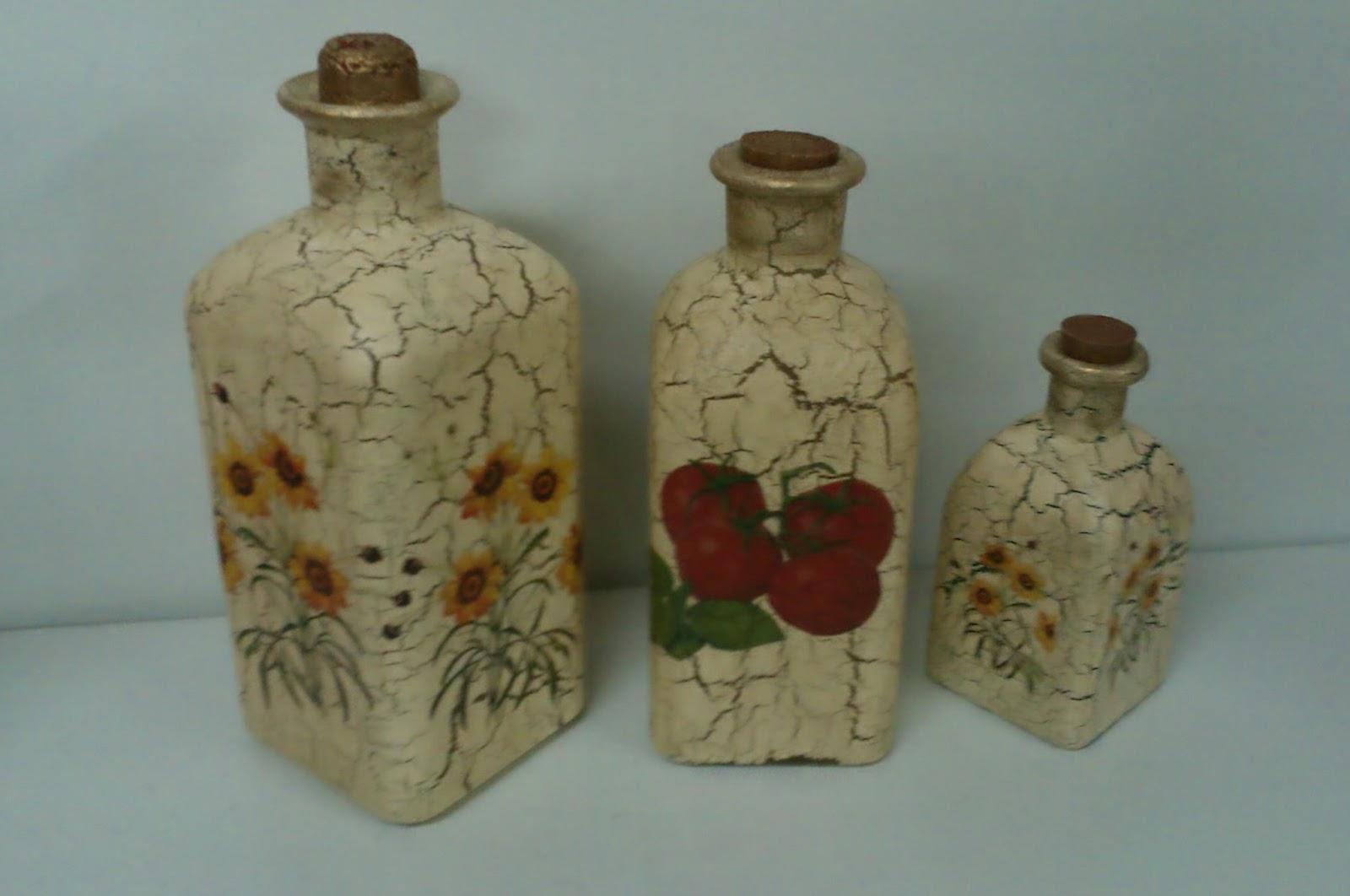 botellas decoradas con servilletas imagui