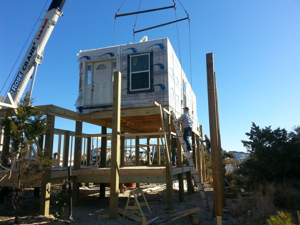 Modular home builder building a home on pilings House piles