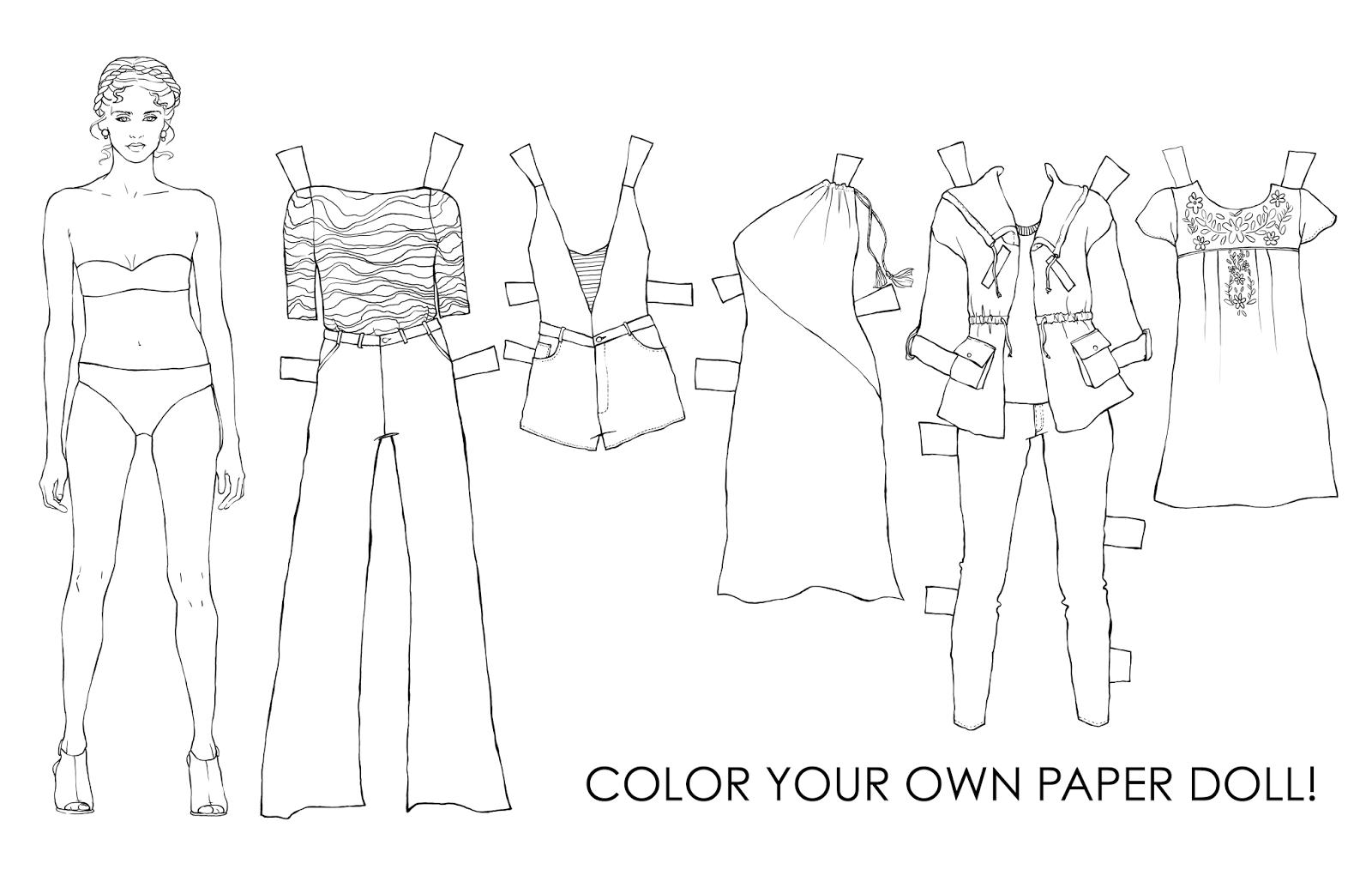 Outline adult paper doll
