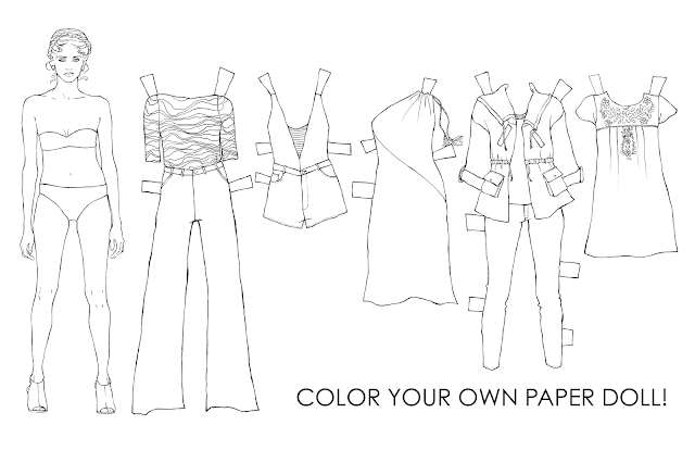 paper-dolls, printables, adult-coloring-page, fashion-coloring-page