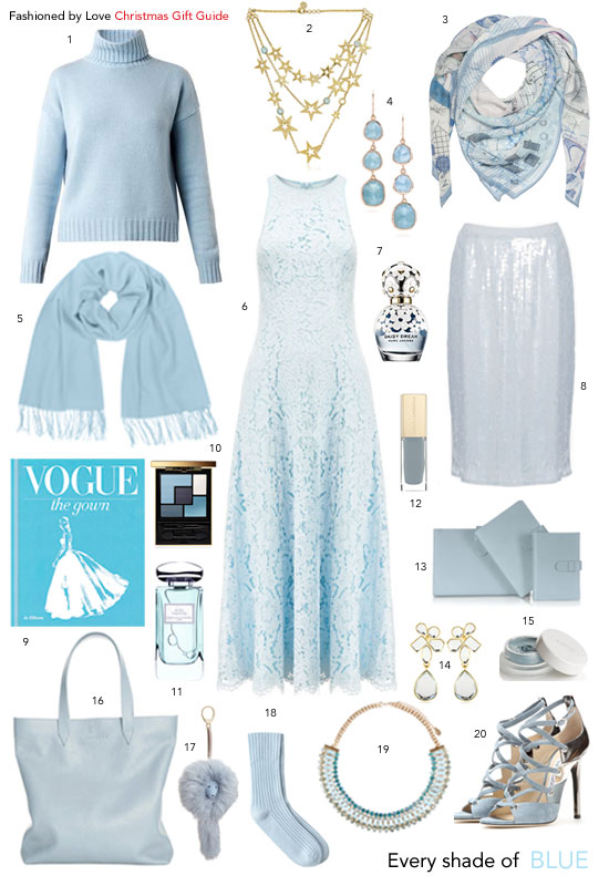 via fashionedbylove | Christmas gift guide & gift ideas in pastel placid blue | pantone colours 2014 | gifts for her