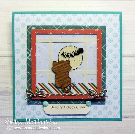 Kitty Waiting for Santa card by Shellye McDaniel for Newton's Nook Designs | Newton's Curious Christmas Stamp Set