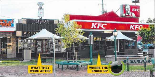 Penjahat Melewati Terowongan menuju ke KFC!