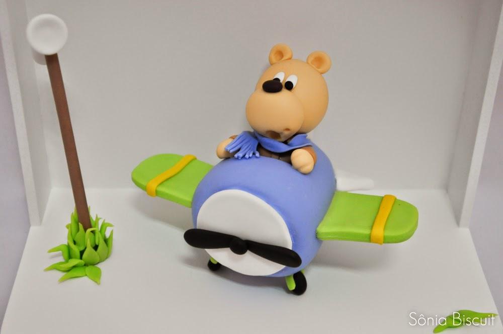Kit Quarto Bebê Ursinho Aviador Biscuit Quadrinho