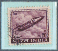 20P. INDIA Gnat Fighter Jet , India Postage Stamps with watermarks