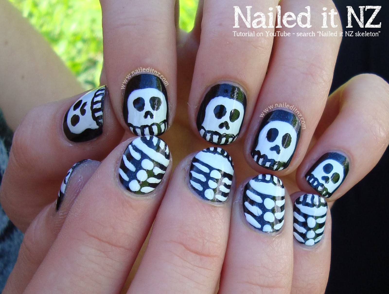 Halloween skeletons nail art tutorial an error occurred prinsesfo Images
