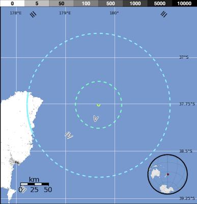 Epicentro sismo 5,8 grados Norte de Nueva Zelanda, 21 de Julio 2012