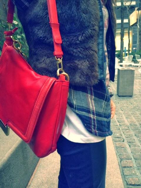 Diane Von Furstenberg Harper Connect purse, red leather IPAD satchel, DVF red big day purse, Sanctuary brown faux fur vest, faux fur with leather pants, plaid Paige flannel shirt, plaid button-up hipster style