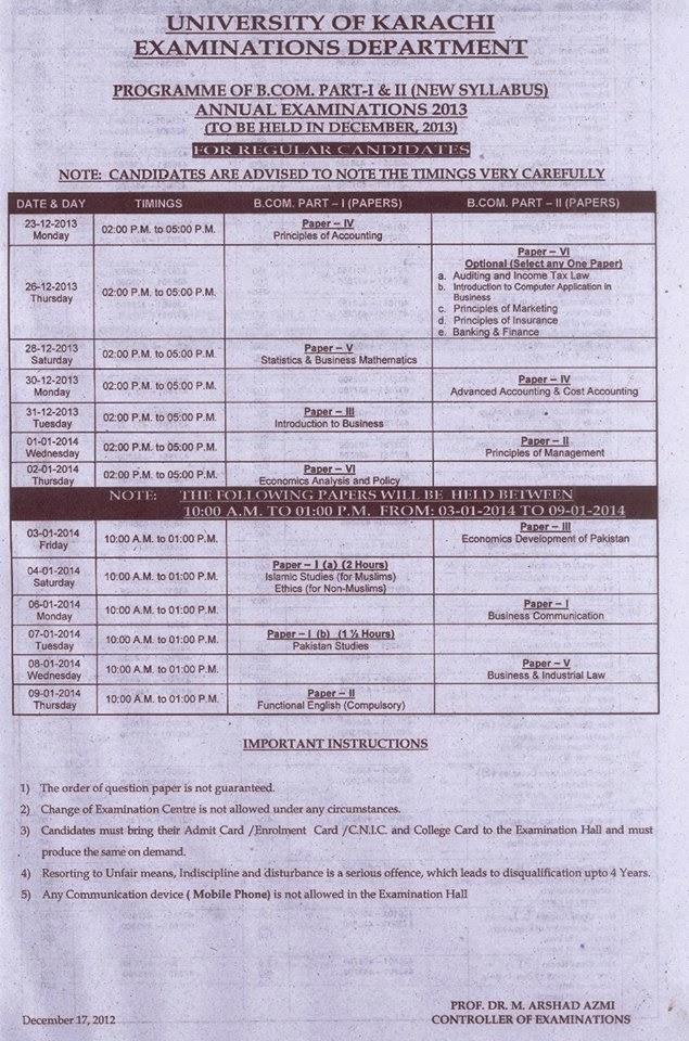 University Of Karachi B.Com Part 1 Part 2 Date Sheet 2013-2014
