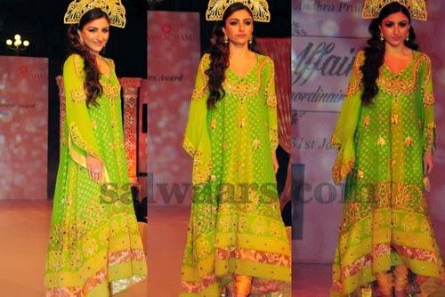 Soha Ali Khan Parrot Green Slawar