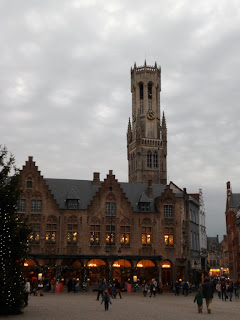 Bruges Belfry tower and festive shops