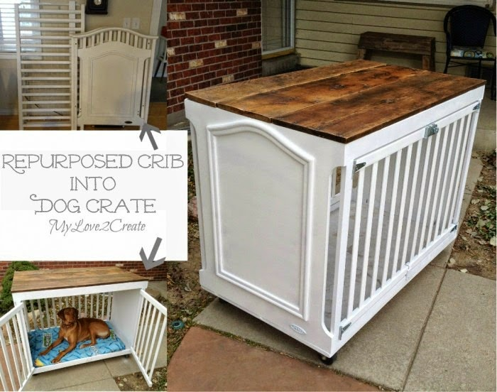 Repurposed Crib Turned Dog Crate, shared by My Love 2 Create