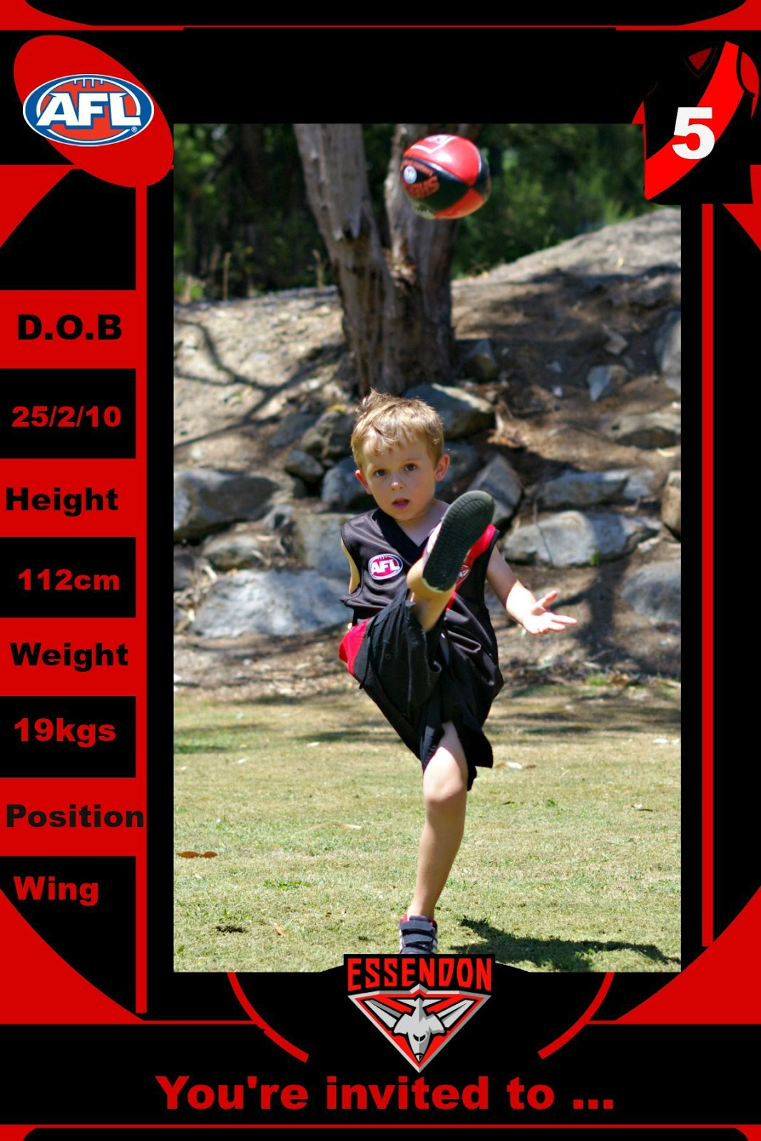 Essendon Bombers Birthday Party Invitations