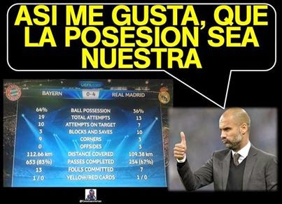 Guardola posesión Bayern 0 Real Madrid 4