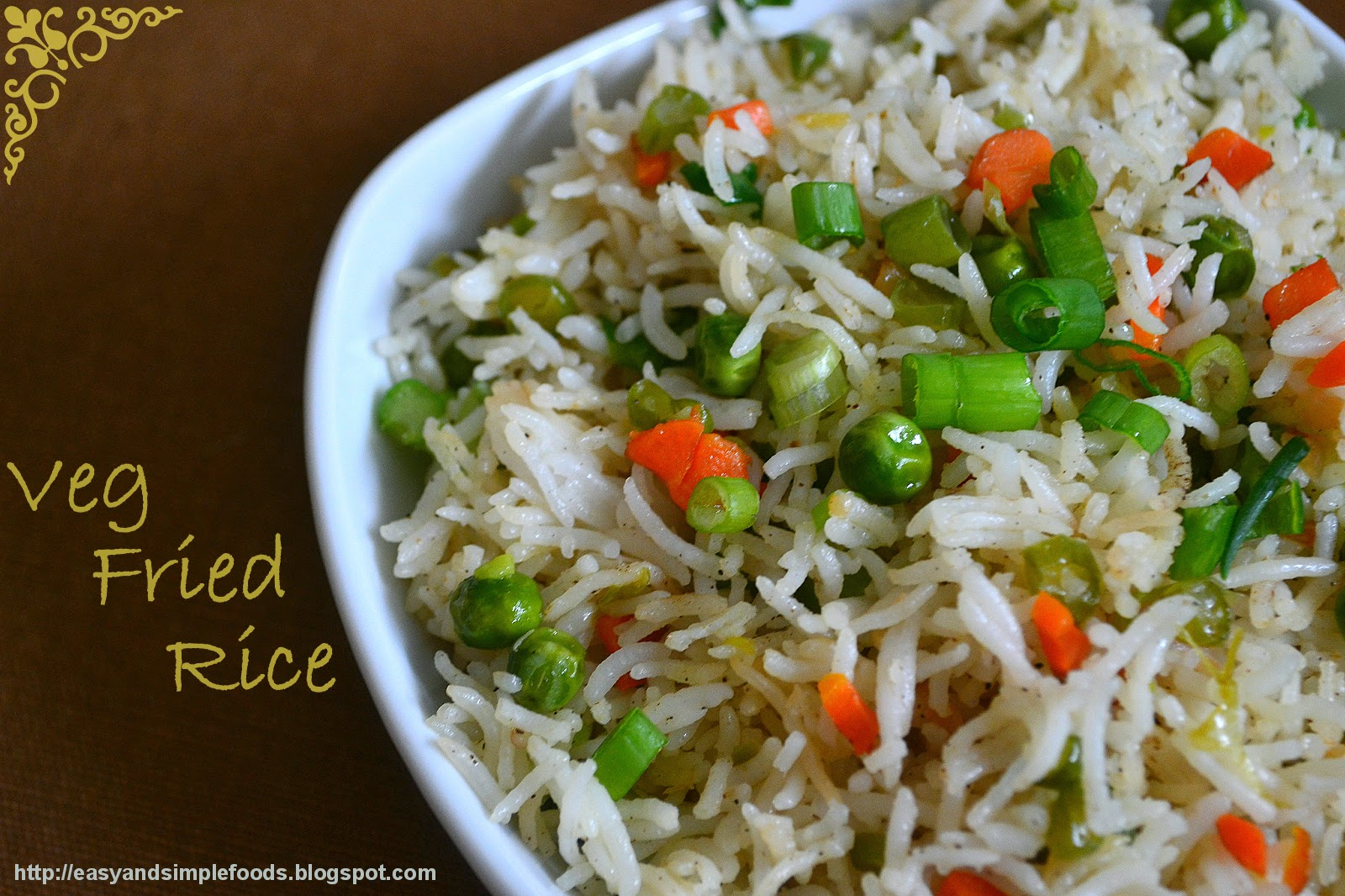 Easy and simple foods veg fried rice here is the simple recipe i follow it is less spicy you can add more pepper or a tea spoon of green chili sauce or even chopped green chilies while ccuart Image collections
