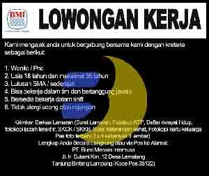Lowongan Kerja Lampung, Jumat 06 Februari 2015 di perusahaan Bumi Menara Lampung