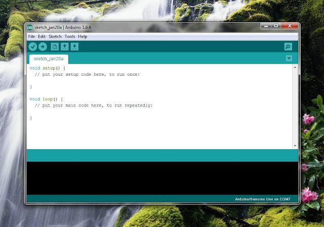 Antarmuka utama software IDE arduino