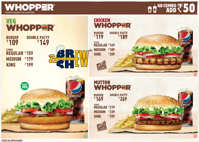 Burger King, Bangalore, India, Menu