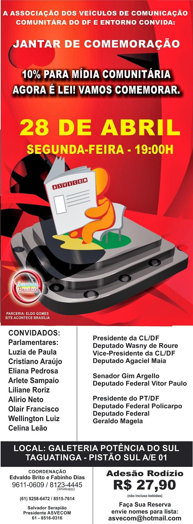 ASVECOM CONVIDA PARA: JANTAR  DE COMEMORAÇÃO NA GALETERIA POTÊNCIA DO SUL: 10% PARA OS COMUNITÁRIOS AGORA É LEI (PELO 51/2013)