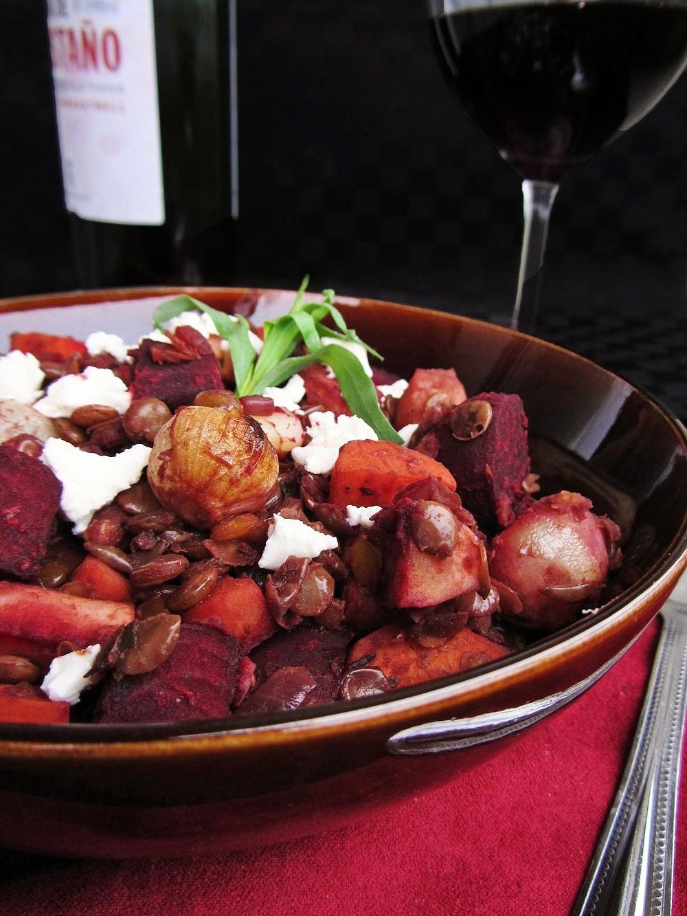 red wine lentils